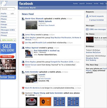facebook 2006 news feed